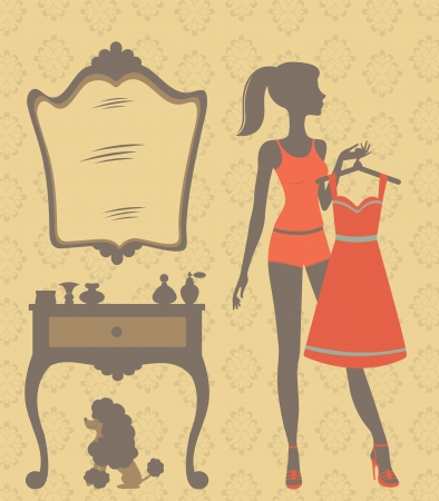 dressing room: An illustration of a beautiful woman getting dressed