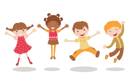An illustration of jumping kids