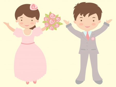 getting married: An illustration of a couple happy getting married