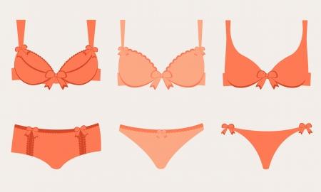 lace bra: An illustration of three lingeries Illustration