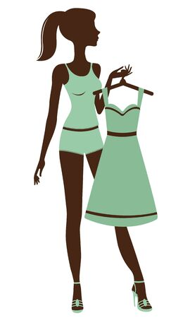 An illustration of a pretty girl getting dressed Stock Vector - 15329405