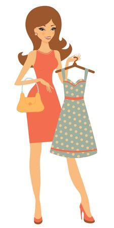 young girl smiling: An illustration of a pretty woman shopping for a dress