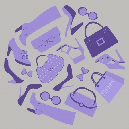 Composition with footwear, bags and purses Vector