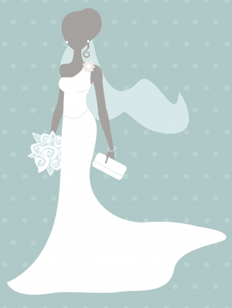 An illustration of beautiful bride silhouette Vector
