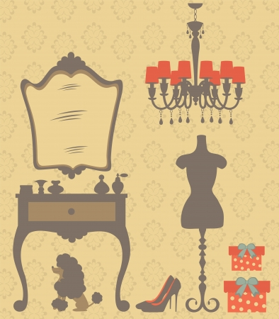 An illustration of vintage style dressing room Vector