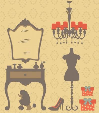 Une illustration de chambre style vestimentaire millésime Vecteurs