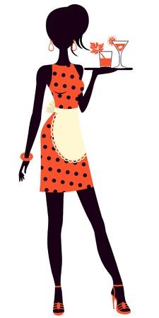 Ilustracja kelnerka gospodarstwa koktajle Ilustracje wektorowe