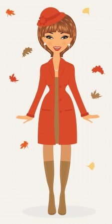 femininity: An illustration of a happy eautiful woman in fashionable autumn outfit