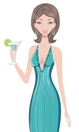 An illustraton of a young beautiful woman holding cocktail Stock Vector - 15917939
