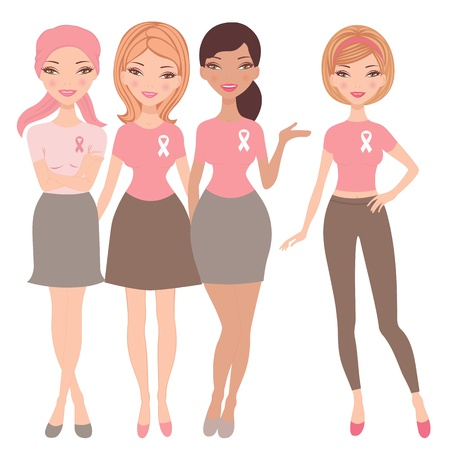 cancer woman: An illustration of four young women wearing  breast cancer wareness ribbon t-shirts