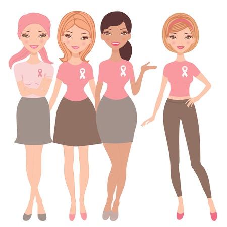 cancer de mama: Una ilustraci�n de cuatro mujeres j�venes con c�ncer de mama usando cinta ONOCIMIENTO camisetas