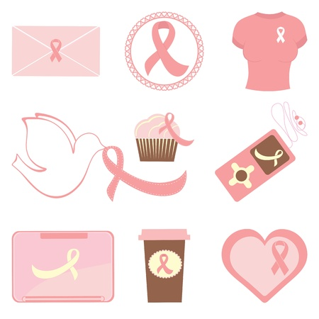 cancer awareness ribbon: Collection of breast cancer awareness icons