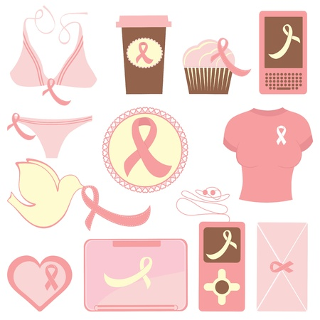 Cute breast cancer awareness items collection Stock Vector - 15917933
