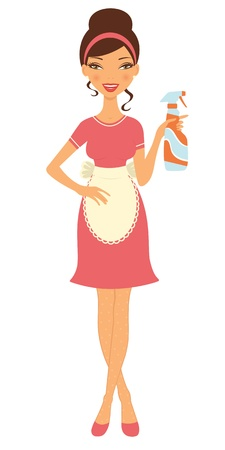 elegant lady: An illustration of a beautiful housewife holding cleaning spray