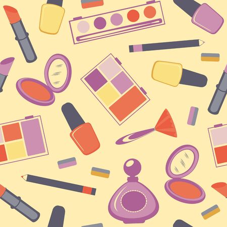 dressing room: A Colorful make-up seamless pattern