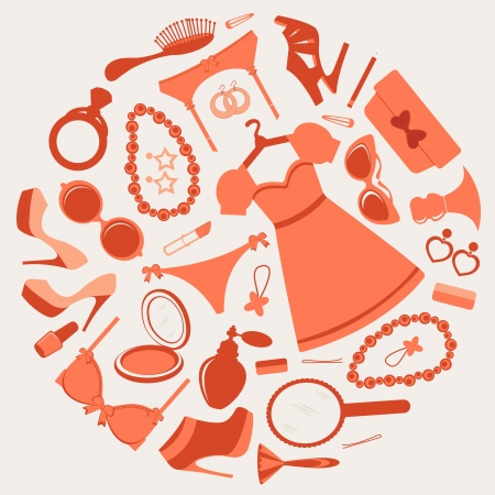 Round composition with fashion related symbols Stock Vector - 15917935