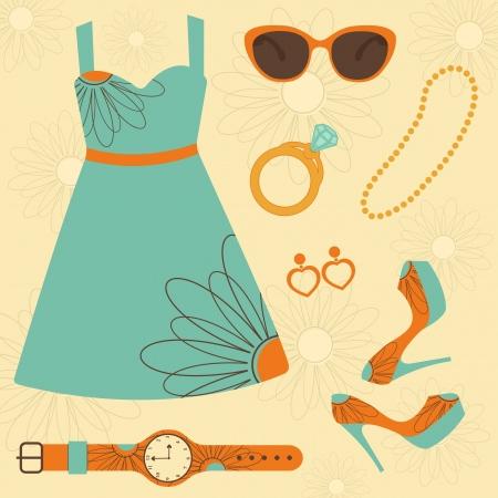A stylish summer fashion set Vector