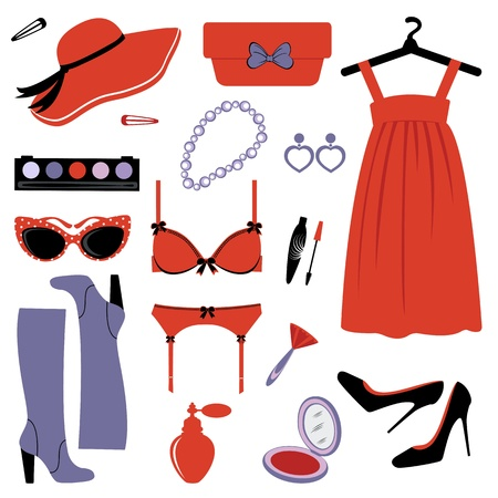 A chick collection of fashion items for an elegant woman Stock Vector - 15917932