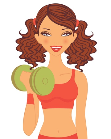 An illustration of a beautiful young woman doing gym