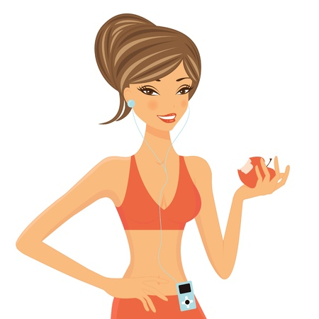 An illustration of a beautiful fitness girl holding apple Stock Vector - 15917982