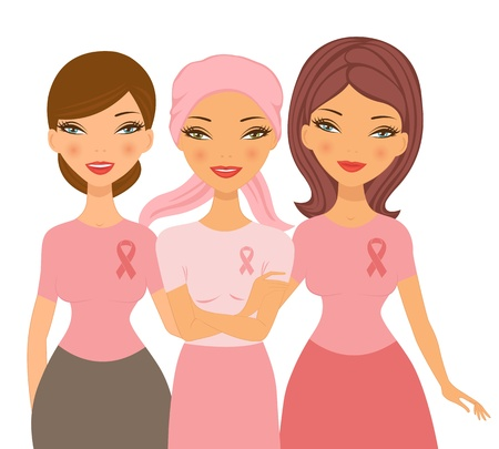 An illustration of two friends supporting young woman after chemotherapy Vector