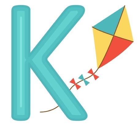 An illustration of K for kite Illustration