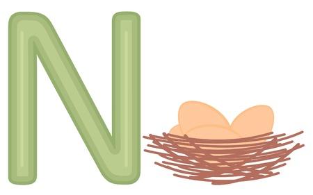 Illustration of N for nest Stock Vector - 15917988
