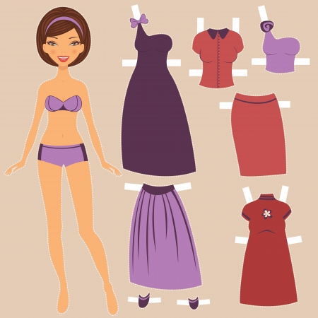 An illustration of a beautiful paper doll with elegant clothing Stock Vector - 15917937