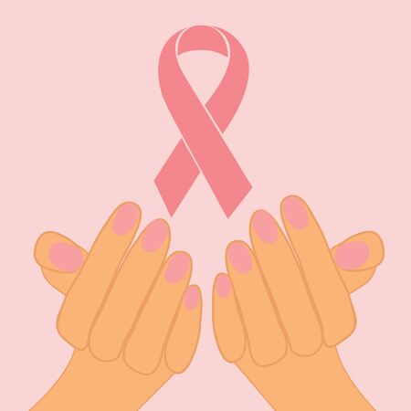 Female hands holding pink ribbon to help promote breast cancer awareness Stock Vector - 15917977