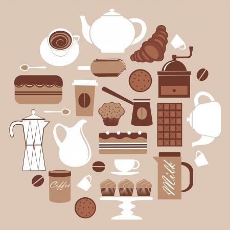 Een zwart-wit koffie gerelateerde pictogrammen samenstelling