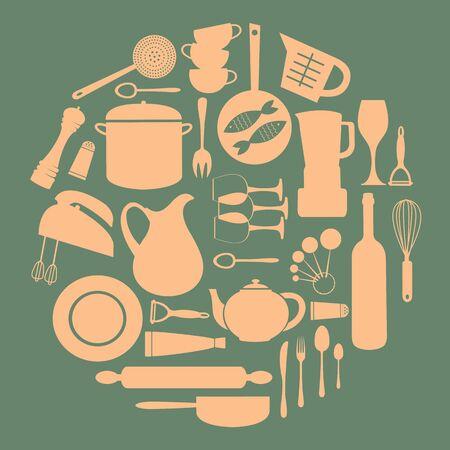 measuring spoon: Stylish round kitchen composition