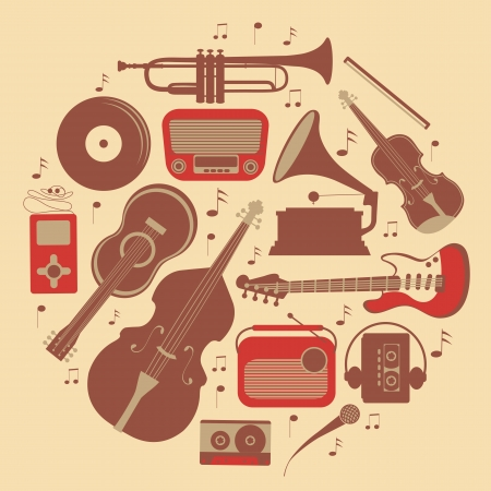 music instrument: A stylish round music composition Illustration