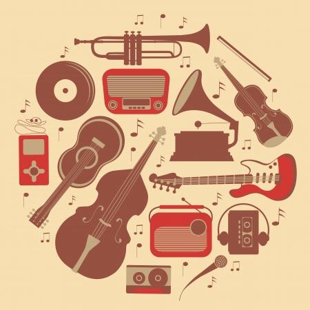 iconos de música: Una composici�n de m�sica con estilo redondo