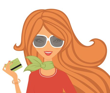 woman credit card: Beautiful woman shopping with card Illustration
