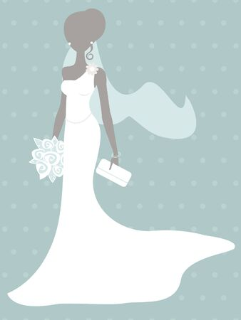 bridal shower: An illustration of beautiful bride silhouette Illustration
