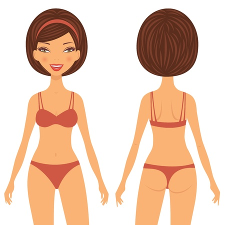 naked woman back: An illustration of a young woman front and back view