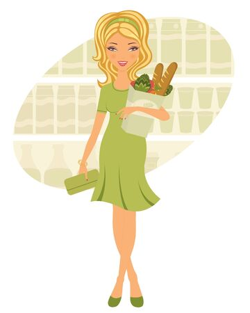 An illustration of a pretty woman shopping for grocery Vector