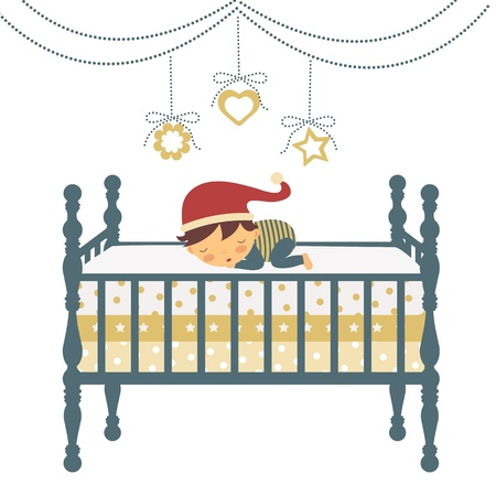 An illustration of a little newborn boy in Santa s hat sleeping Vector
