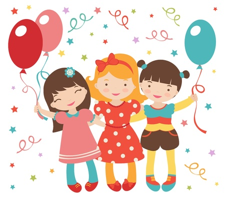 An illustration of happy little girls having a party Vector