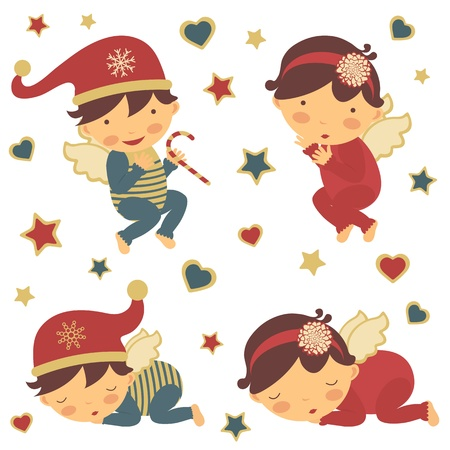 Adorbale little Christmas angels collection Vector