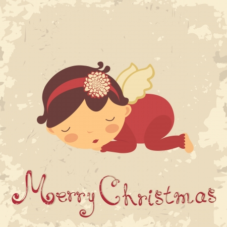 baby angel: Vintage Christmas card with sleeping newborn angel Illustration