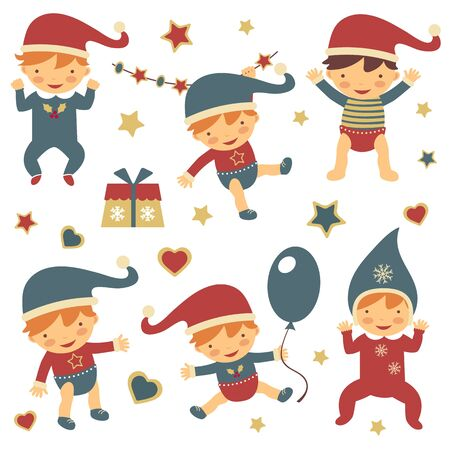 Adorable happy Christmas babies collection Stock Vector - 16131465
