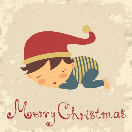 old style lettering: Vintage Christmas card with sleeping baby-boy