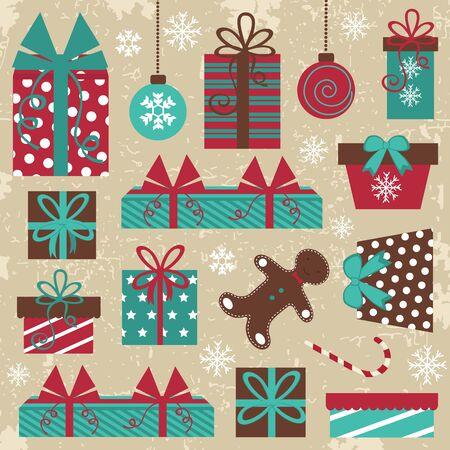 An elegant Christmas set with grungy background Vector