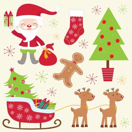papa noel en trineo: Una colección colorida linda navidad Vectores