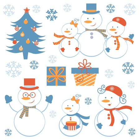 decorated christmas tree: A cute snowmen collection