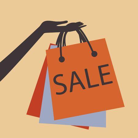 Een hand die boodschappentassen op de verkoop te bevorderen