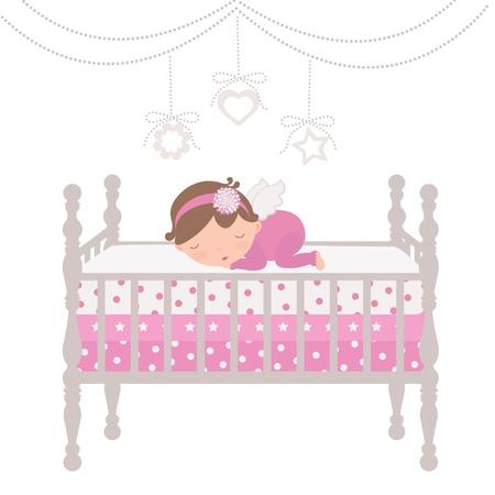 newborn baby girl: An illustration of a little angel sleeping Illustration