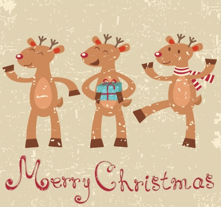 old style lettering: Cute reindeers Christmas card Illustration