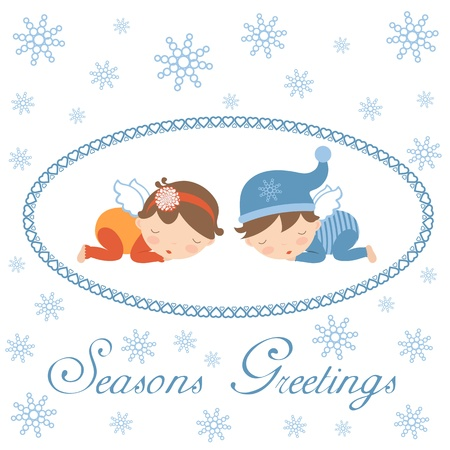 Cute Seasons greetings card with sleeping angels Vector